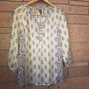 Maurices Tree/Flower Pattern Peasant Blouse - M